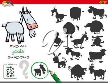 Cartoon Illustration of Finding All Goats Shadows Educational Activity for Children