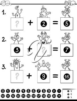 Black and White Cartoon Illustration of Educational Mathematical Addition Puzzle Game for Preschool and Elementary Age Children with Aliens Funny Characters Coloring Book