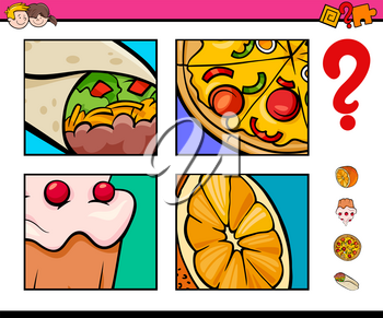 Cartoon Illustration of Educational Activity Game of Guessing Food Objects for Children