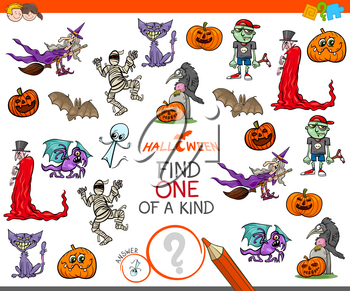 Cartoon Illustration of Find One of a Kind Picture Educational Activity Game for Children with Halloween Characters