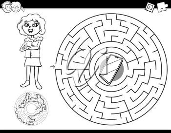 Black and White Cartoon Illustration of Education Maze or Labyrinth Activity Game for Children with Girl and Smart Phone Coloring Book