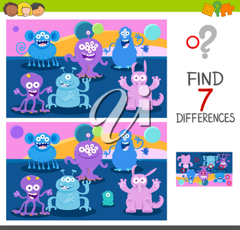 Cartoon Illustration of Finding Seven Differences Between Pictures Educational Game for Children with Cute Monster Characters