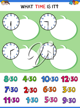 Cartoon Illustrations of Telling Time Educational Game with Clock Face for Children