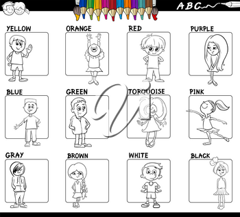 Black and White Cartoon Illustration of Basic Colors with Children Characters Educational Set Color Book