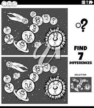 Black and White Cartoon Illustration of Finding Differences Between Pictures Educational Game for Children with Comic Planets and Space Orb Characters Coloring Book Page