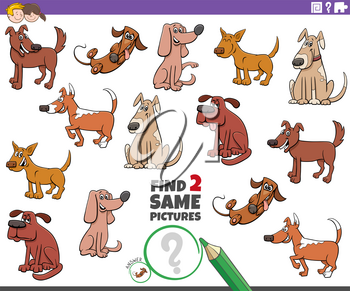 Cartoon Illustration of Finding Two Same Pictures Educational Task for Children with Dogs Animal Characters