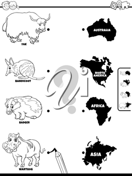 Black and White Cartoon Illustration of Educational Matching Game for Children with Animal Species Characters and Continent Shapes Coloring Book Page