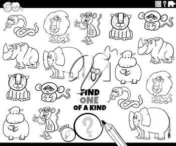 Black and White Cartoon Illustration of Find One of a Kind Picture Educational Game with Wild Animal Characters Coloring Book Page