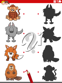 Cartoon Illustration of Match the Right Shadows with Pictures Educational Game for Children with Animal Characters