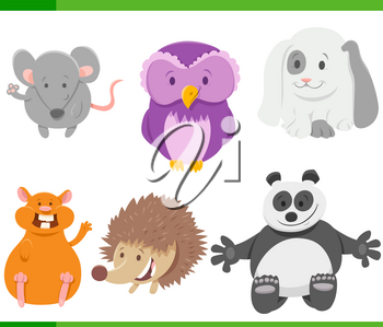 Cartoon Illustration of Wild Animal Characters Collection Set