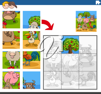 Cartoon illustration of educational jigsaw puzzle game for children with funny farm animal characters group