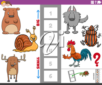 Cartoon Illustration of Educational Game of Finding the Bigest and the Smallest Animal Species with Comic Characters for Children