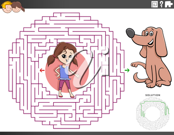 Cartoon Illustration of Educational Maze Puzzle Game for Children with Girl Character and Puppy Dog