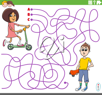 Cartoon Illustration of Lines Maze Puzzle Game with Girl on Scooter and Boy with Skateboard