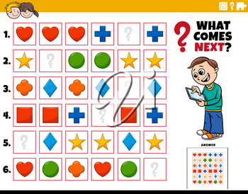 Cartoon Illustration of Completing the Pattern in the Rows Educational Activity for Kids