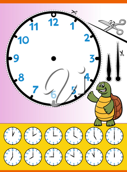 Cartoon illustrations of clock face telling time educational worksheet for kids