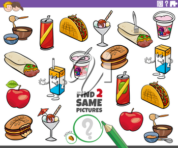 Cartoon Illustration of Finding Two Same Pictures Educational Task for Children with Food Objects