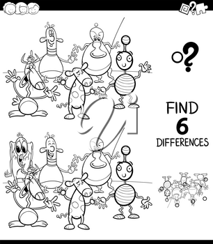 Black and White Cartoon Illustration of Finding Six Differences Between Pictures Educational Game for Children with Happy Fantasy Creatures Coloring Book