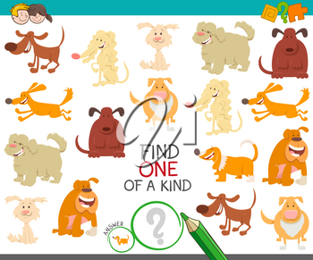 Cartoon Illustration of Find One of a Kind Picture Educational Activity Game with Dogs and Puppies Characters