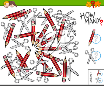 Illustration of Educational Counting Task for Children with Pencils and Scissors