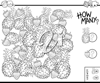 Black and White Illustration of Educational Counting Task for Children with Pineapples and Strawberries Coloring Book