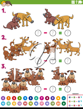 Cartoon Illustration of Educational Mathematical Subtraction Puzzle Task for Children with Dogs