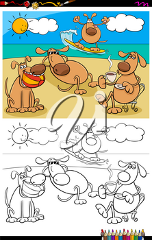 Cartoon Illustration of Funny Dogs Animal Characters on Holiday Vacation Coloring Book Activity