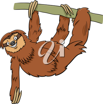 Cartoon Illustration of Sloth Wild Animal Character on the Branch