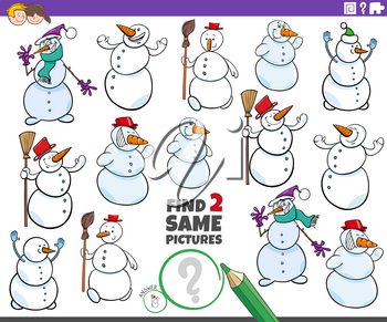 Cartoon illustration of finding two same pictures educational game for children with snowmen characters