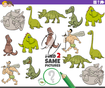 Cartoon illustration of finding two same pictures educational game for children with dinosaurs and prehistoric characters