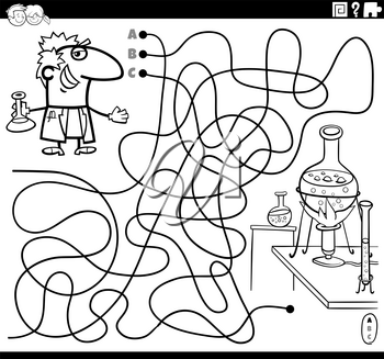 Black and white cartoon illustration of lines maze puzzle game with scientist character and laboratory coloring book page