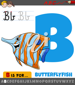 Educational cartoon illustration of letter B from alphabet with butterflyfish fish animal character