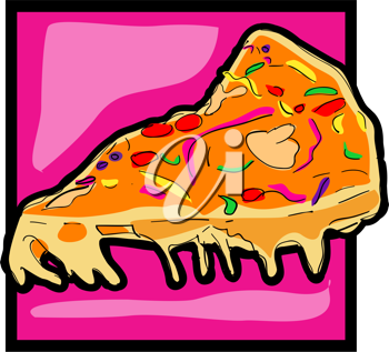 Royalty Free Clipart Image of a Pizza Slice Icon