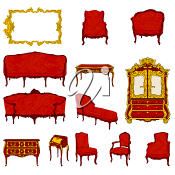 authentic rococo furniture colored doodles set and mirror isolated on white