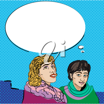 Image shows a comic style graphic of a girl and a boy and a speech bubble for your text