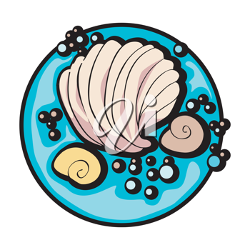 hand drawn graphic illustration of a shell and some snails under the sea, clip art isolated on white