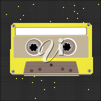 Retro music cassette, pixel art composition with black background and yellow object