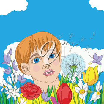 Hand drawn illustration of a spring outdoor scene, kid among flowers following a dandelion seed