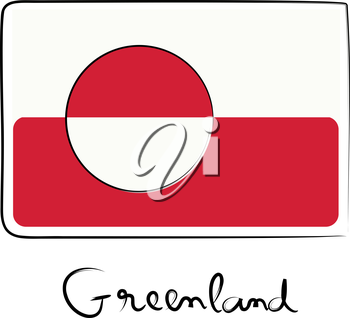 Greenland country flag doodle with title text isolated on white