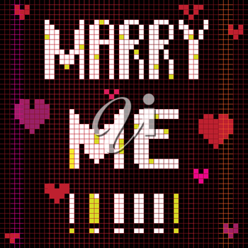 Marriage proposal card, pixel illustration of a scoreboard composition with digital text
