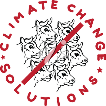 Climate change solution illustration, hand drawn sticker isolated on white, cattle farm limitation