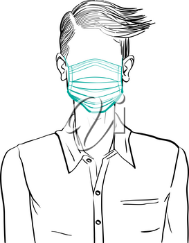Hand drawn artistic illustration of an anonymous avatar of a young man with comb over hairstyle in an informal shirt, wearing a medical mask, web profile doodle isolated on white