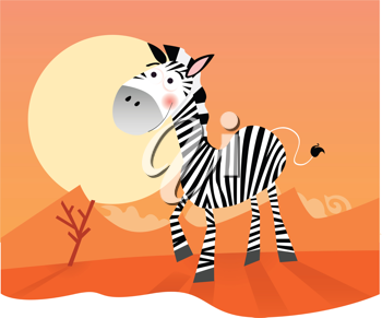 Royalty Free Clipart Image of a Zebra