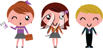 Royalty Free Clipart Image of Students in Uniforms