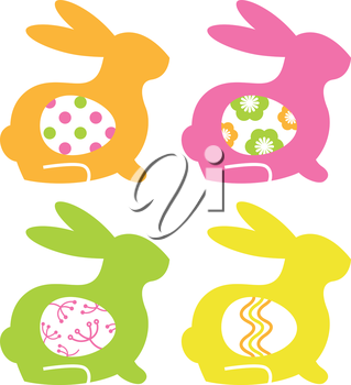 Abstract bunnies with eggs set. Vector Illustration