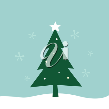 Merry Christmas greeting. Vector Tree Illustration