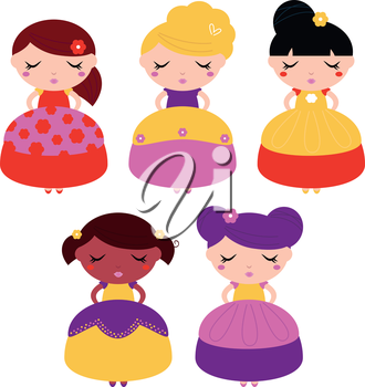Beautiful multicultural princess set. Vector Illustration