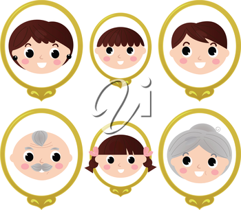 Two generation family old photos set. Vector cartoon