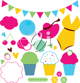 Colorful retro Summer design elements and items. Vector