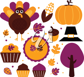 Thanksgiving items set - yellow and purple. Vector Illustration